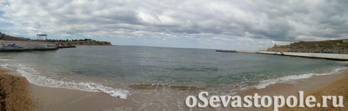 Панорама пляжа Солнечный в Севастополе