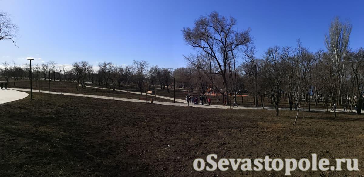 Панорамный вид на аллею в парке Учкуевка
