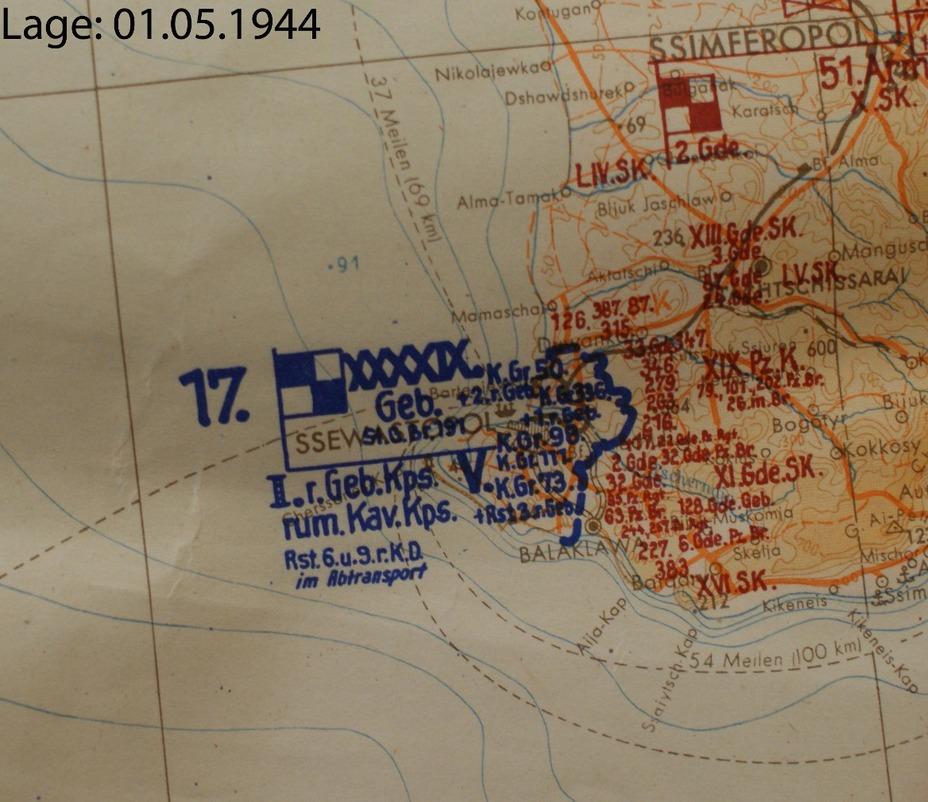 Схема расположения частей 17-й армии в Крыму, 1 мая 1944 года.