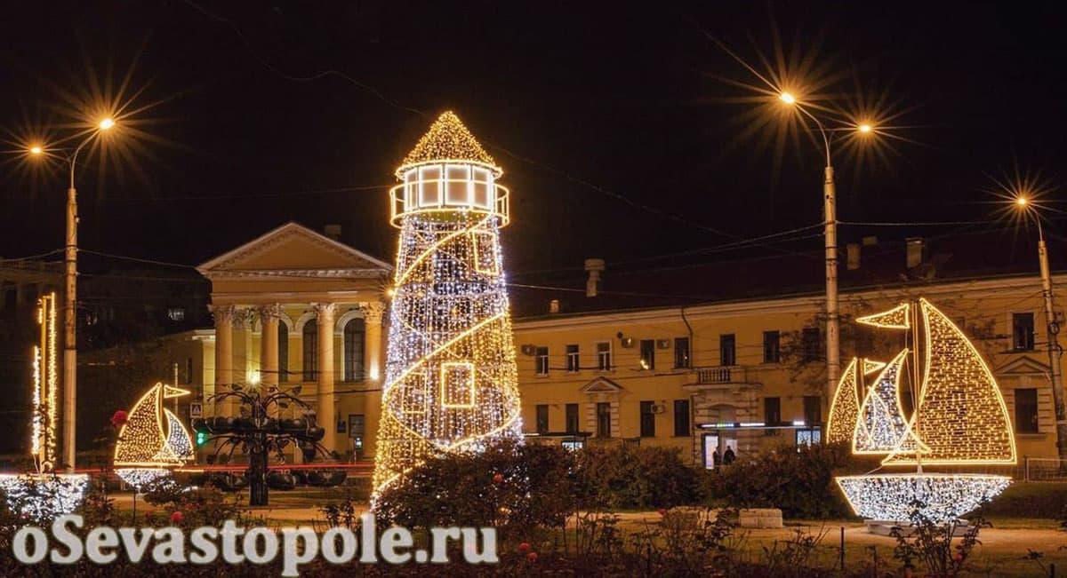 Площадь Восставших в Севастополе на Новый год