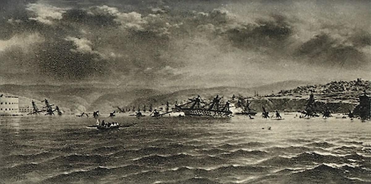 Затопление судов Черноморского флота на севастопольском рейде 11 сентября 1854 года. Автор: И. Прянишников