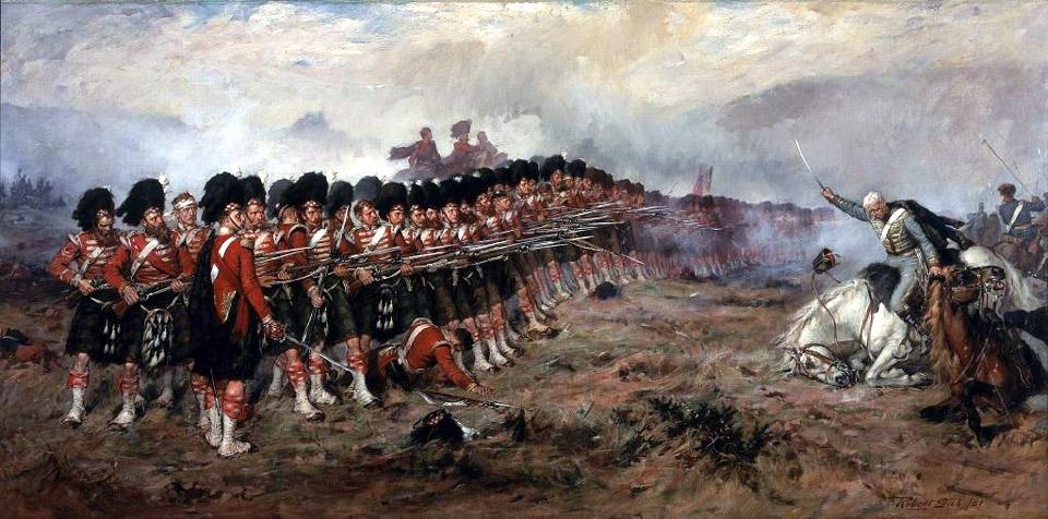 """""""Тонкая красная линия"""" - шотландские гвардейцы генерала Кэмпбелла отбивают атаку русской кавалерии у Кадыкиоя. Картина Роберта Гибба."""