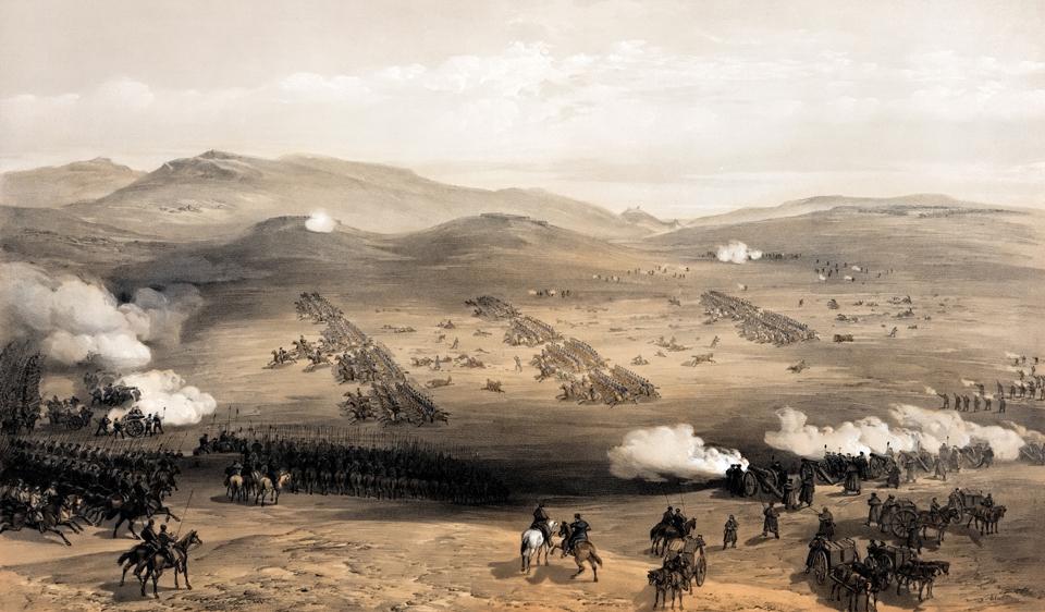 Атака легкой бригады, вид со стороны русских позиций.